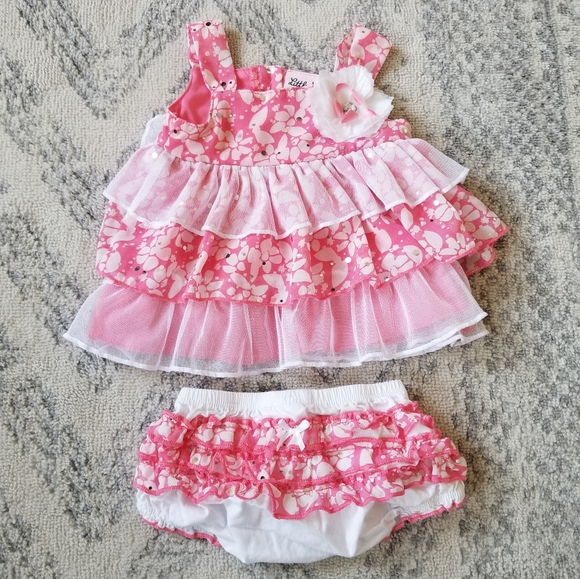 Little Lass baby girl 6-9 month outfit set